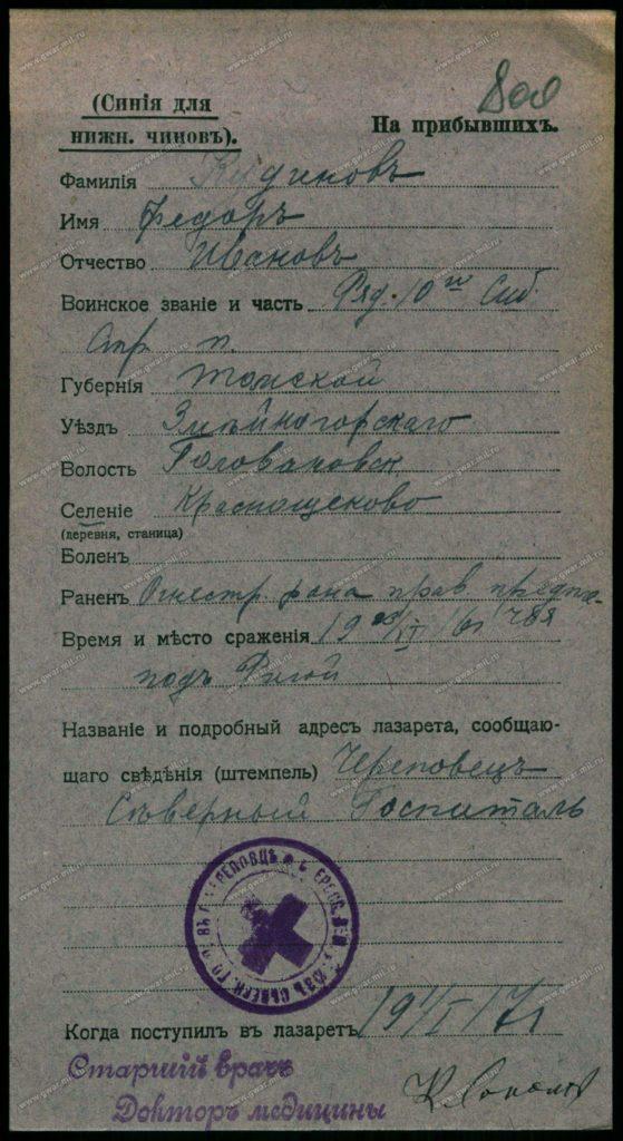 Карточка на прибывших в Череповецкий северный госпиталь. Январь 1917 года