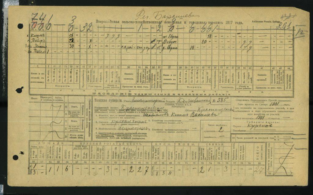 Всероссийская сельскохозяйственная перепись 1917 года, анкета Шаталова Клима Васильевича